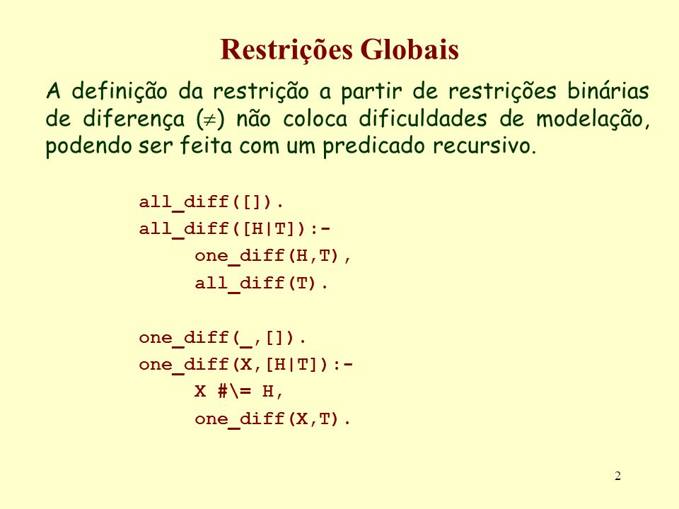 Restrições Globais