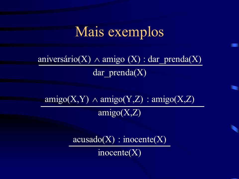 Mais exemplos aniversário(X)  amigo (X) : dar_prenda(X) dar_prenda(X)