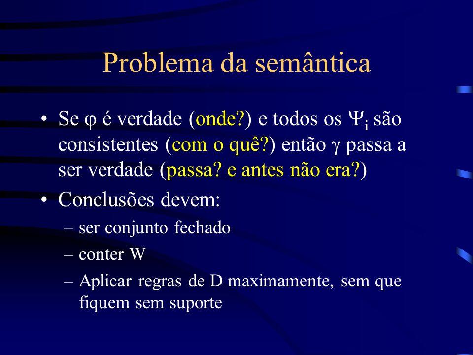 Problema da semântica Se j é verdade (onde ) e todos os Yi são consistentes (com o quê ) então g passa a ser verdade (passa e antes não era )