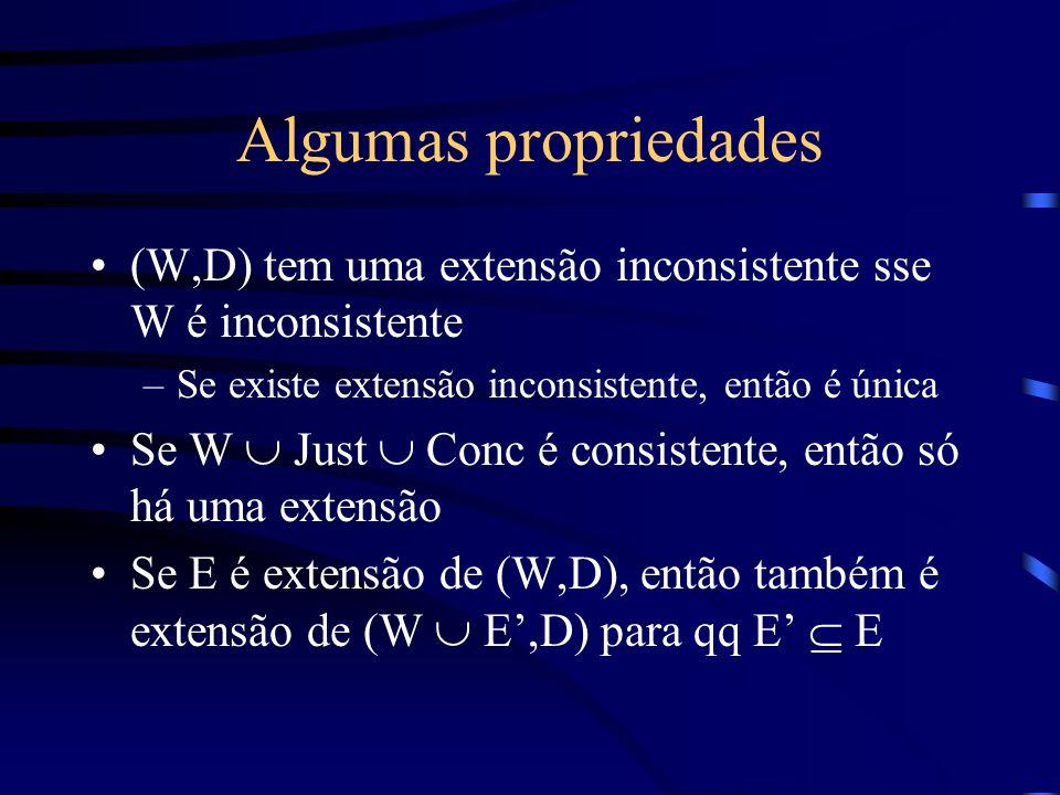 Algumas propriedades (W,D) tem uma extensão inconsistente sse W é inconsistente. Se existe extensão inconsistente, então é única.