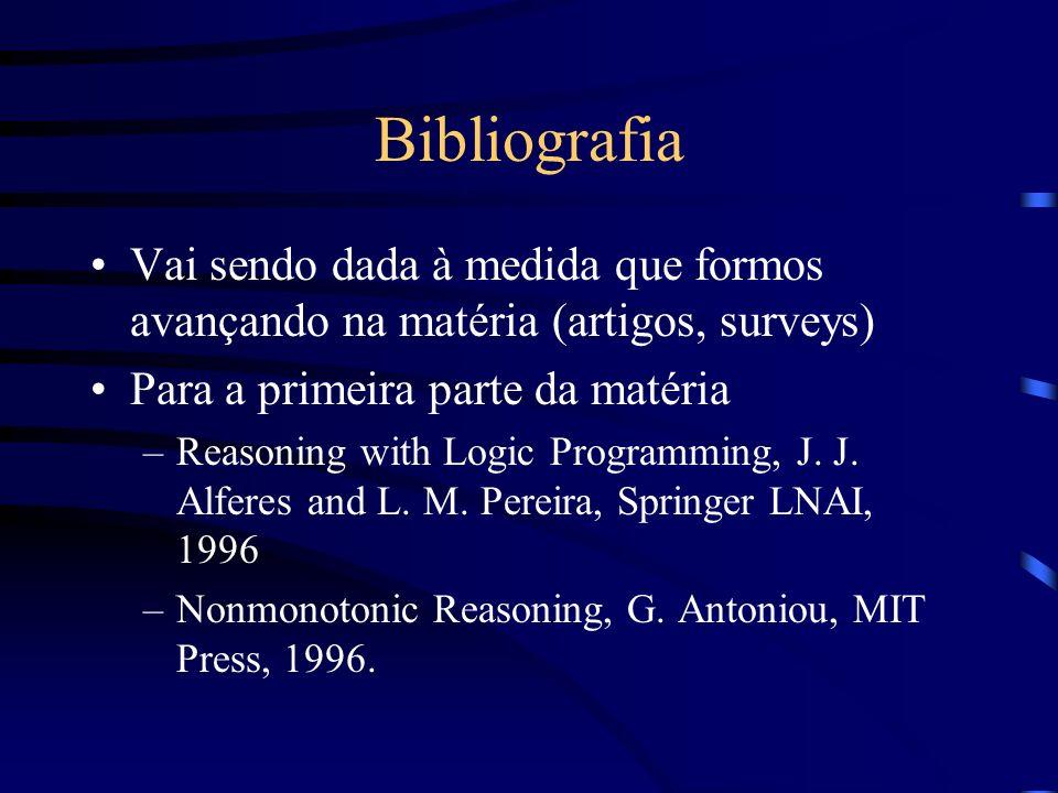 Bibliografia Vai sendo dada à medida que formos avançando na matéria (artigos, surveys) Para a primeira parte da matéria.