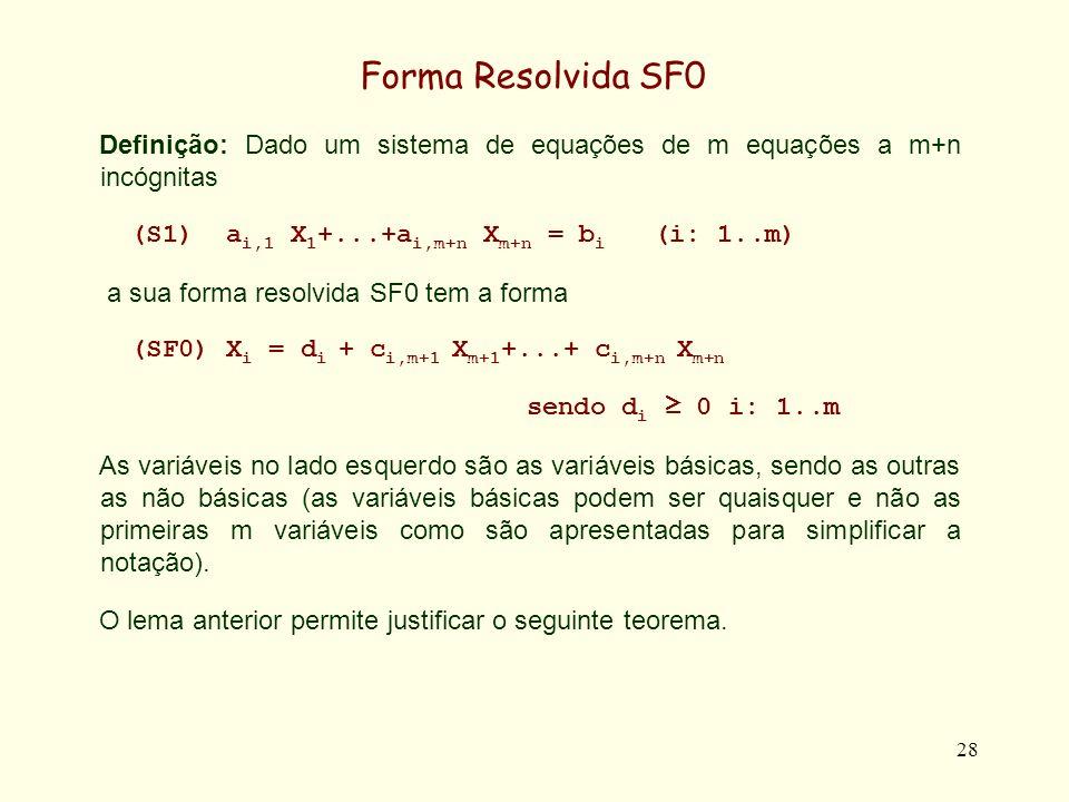Forma Resolvida SF0 Definição: Dado um sistema de equações de m equações a m+n incógnitas. (S1) ai,1 X1+...+ai,m+n Xm+n = bi (i: 1..m)
