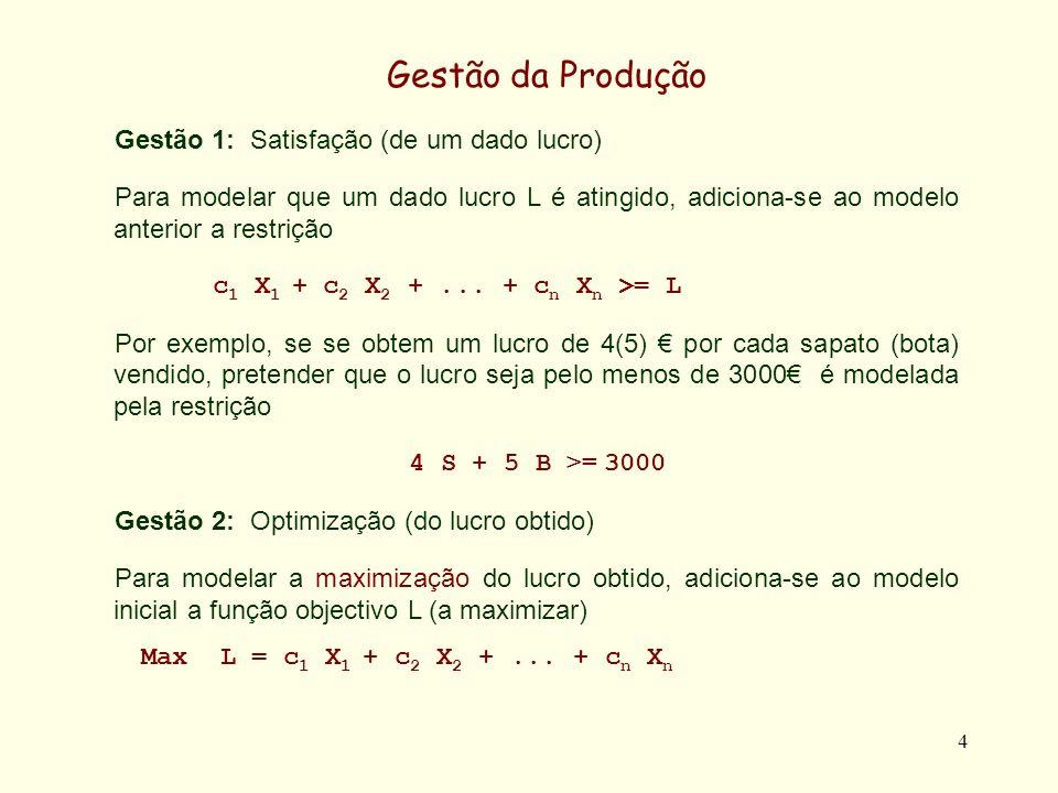 Gestão da Produção Gestão 1: Satisfação (de um dado lucro)