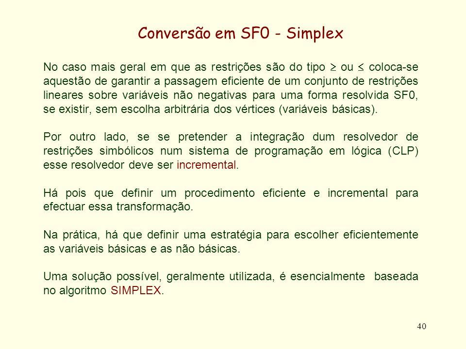 Conversão em SF0 - Simplex