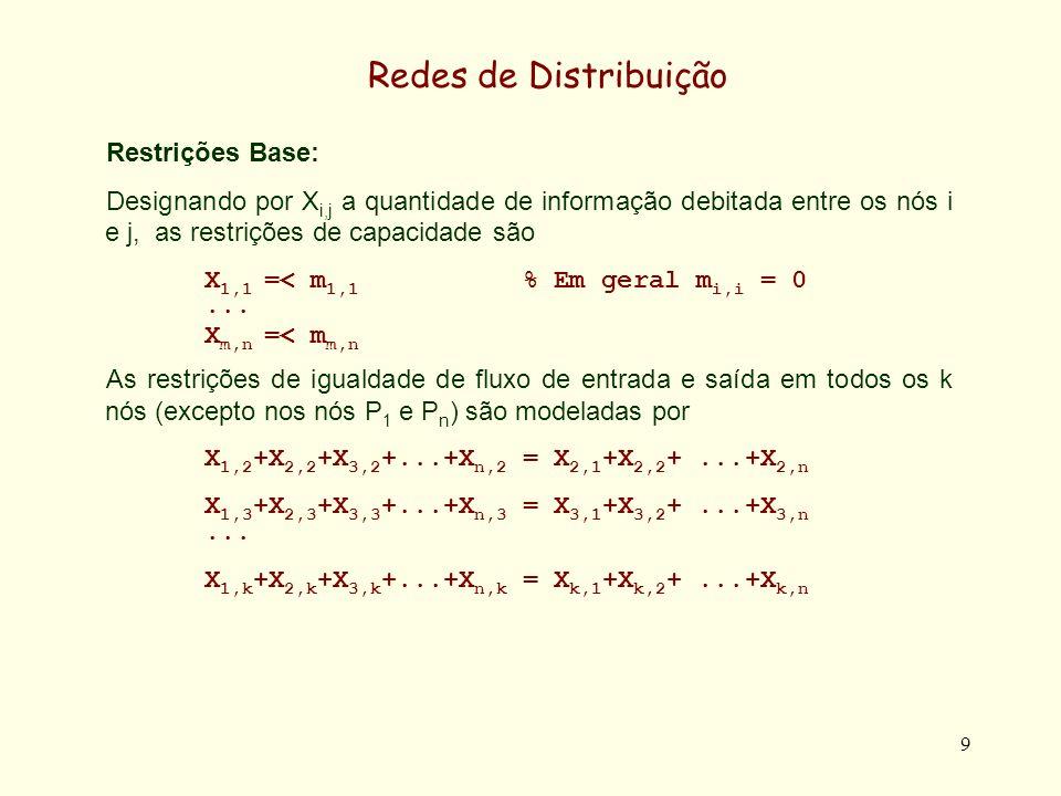 Redes de Distribuição Restrições Base: