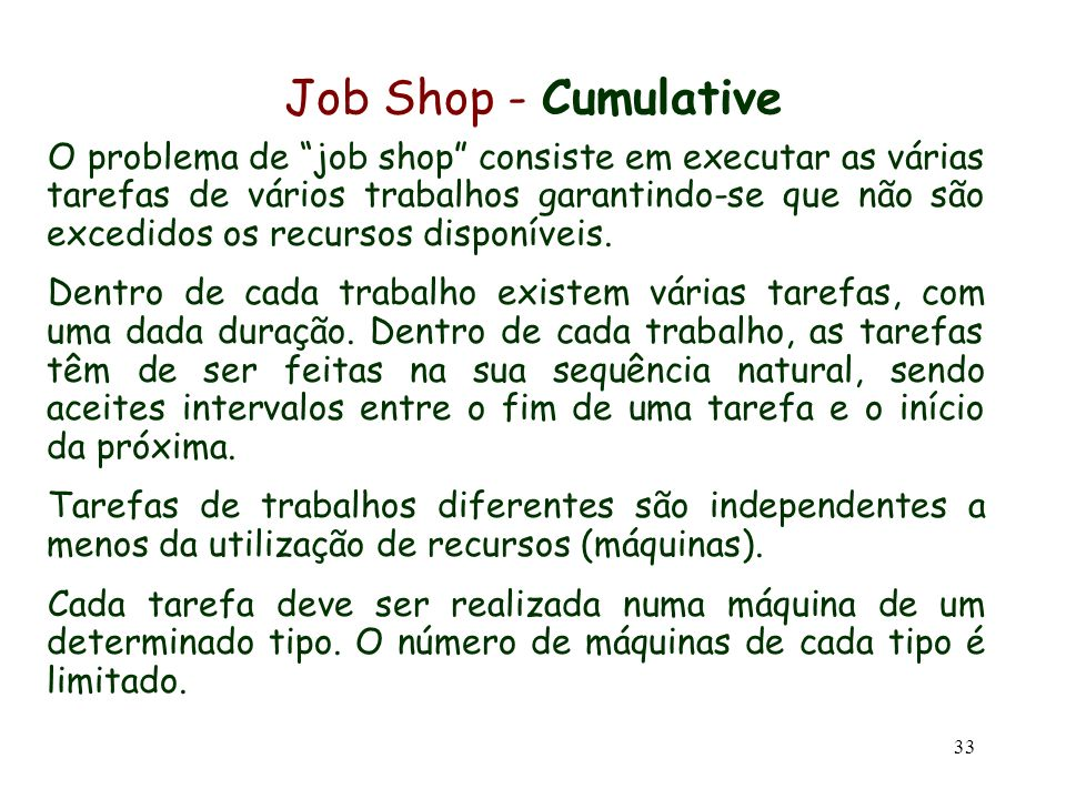 Job Shop - Cumulative
