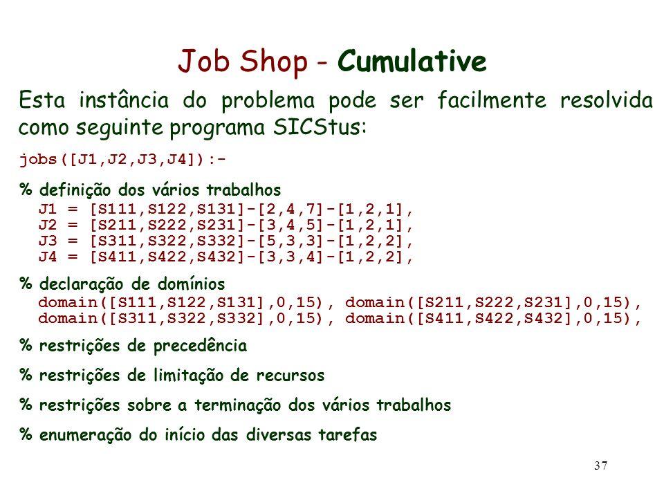 Job Shop - Cumulative Esta instância do problema pode ser facilmente resolvida como seguinte programa SICStus: