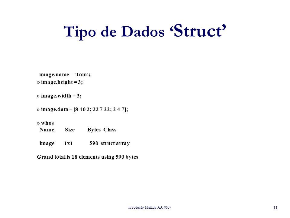 Tipo de Dados 'Struct' image.name = Tom ; » image.height = 3;