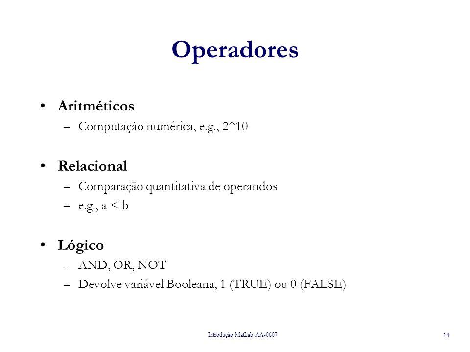 Operadores Aritméticos Relacional Lógico