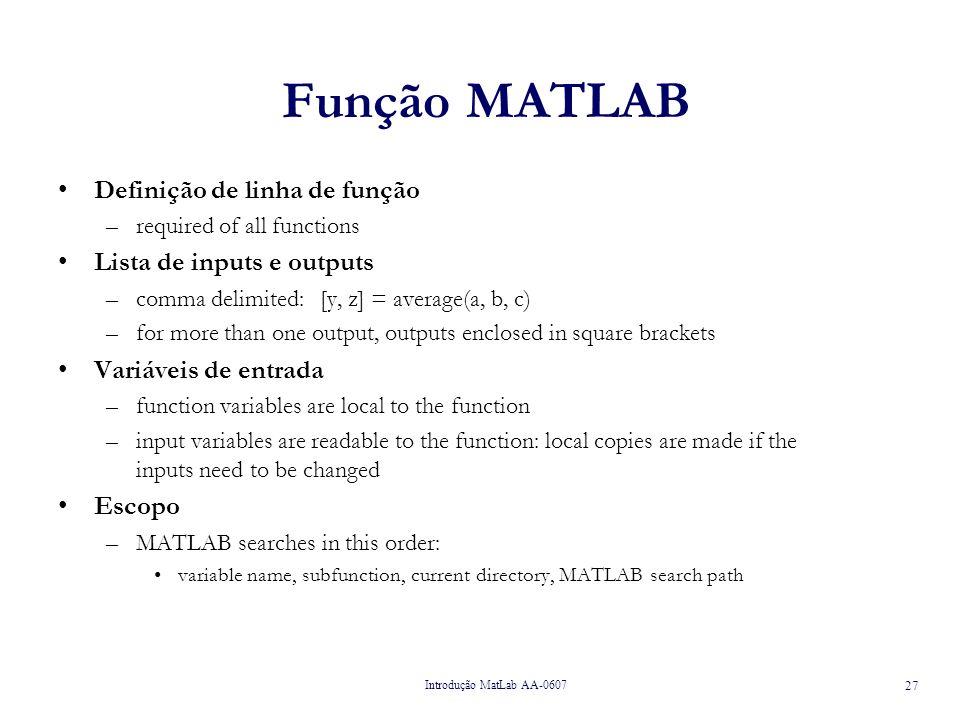 Função MATLAB Definição de linha de função Lista de inputs e outputs