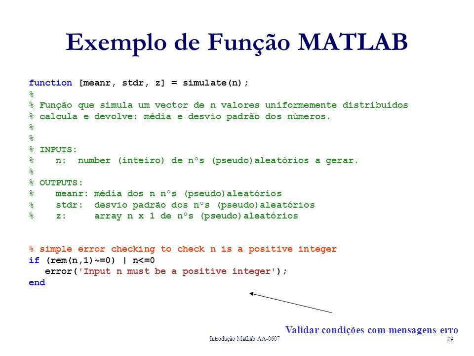 Exemplo de Função MATLAB