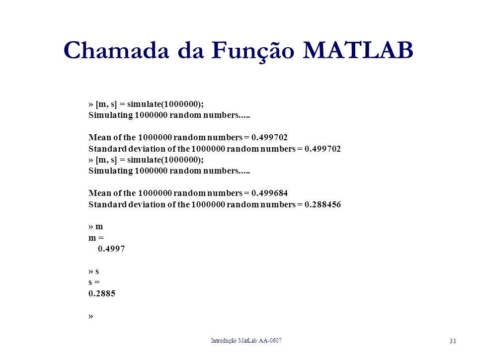 Chamada da Função MATLAB