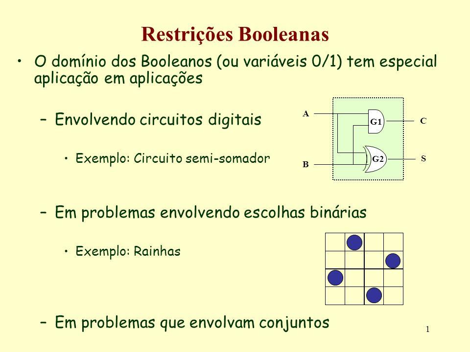 Restrições Booleanas O domínio dos Booleanos (ou variáveis 0/1) tem especial aplicação em aplicações.
