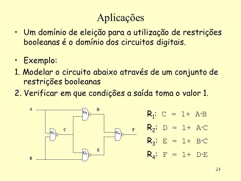 Aplicações Um domínio de eleição para a utilização de restrições booleanas é o domínio dos circuitos digitais.