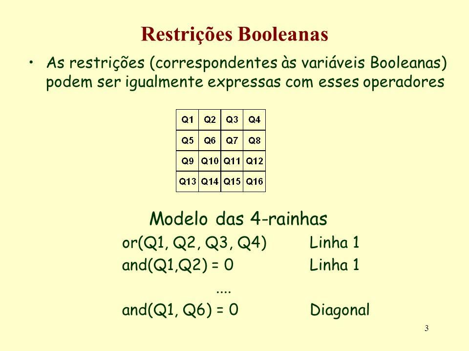 Restrições Booleanas Modelo das 4-rainhas