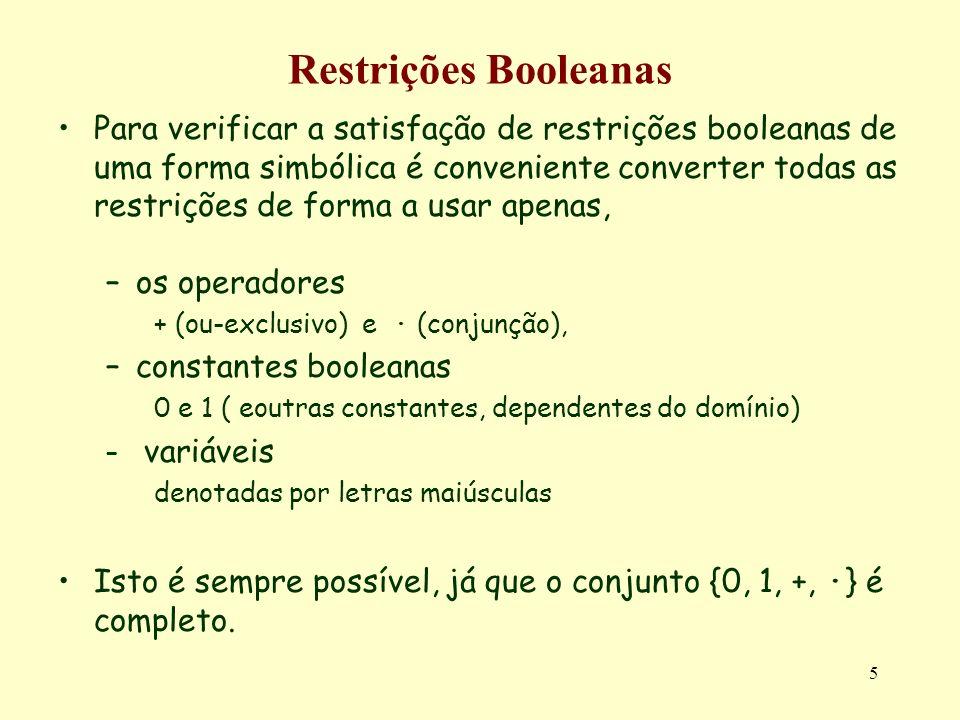 Restrições Booleanas