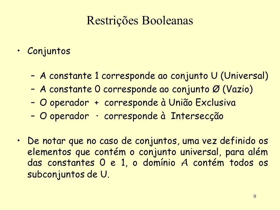 Restrições Booleanas Conjuntos