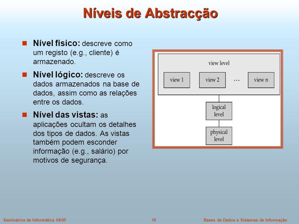 Níveis de Abstracção Nível físico: descreve como um registo (e.g., cliente) é armazenado.