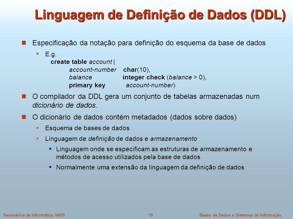Linguagem de Definição de Dados (DDL)