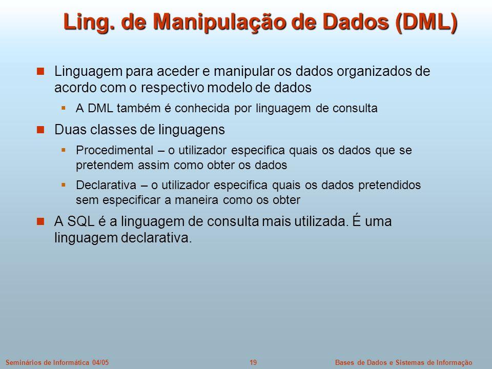 Ling. de Manipulação de Dados (DML)