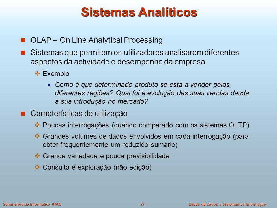Sistemas Analíticos OLAP – On Line Analytical Processing