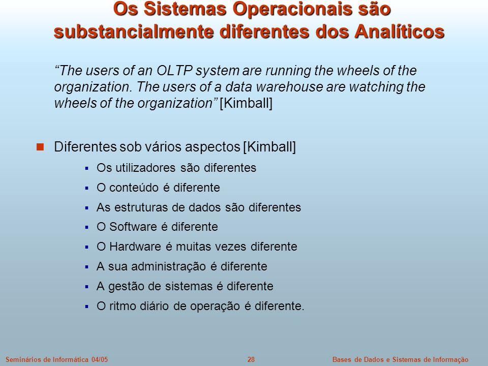 Os Sistemas Operacionais são substancialmente diferentes dos Analíticos