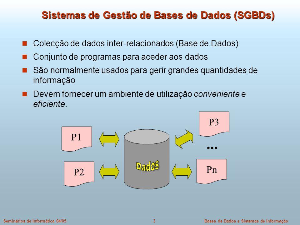 Sistemas de Gestão de Bases de Dados (SGBDs)