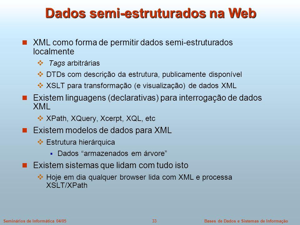 Dados semi-estruturados na Web