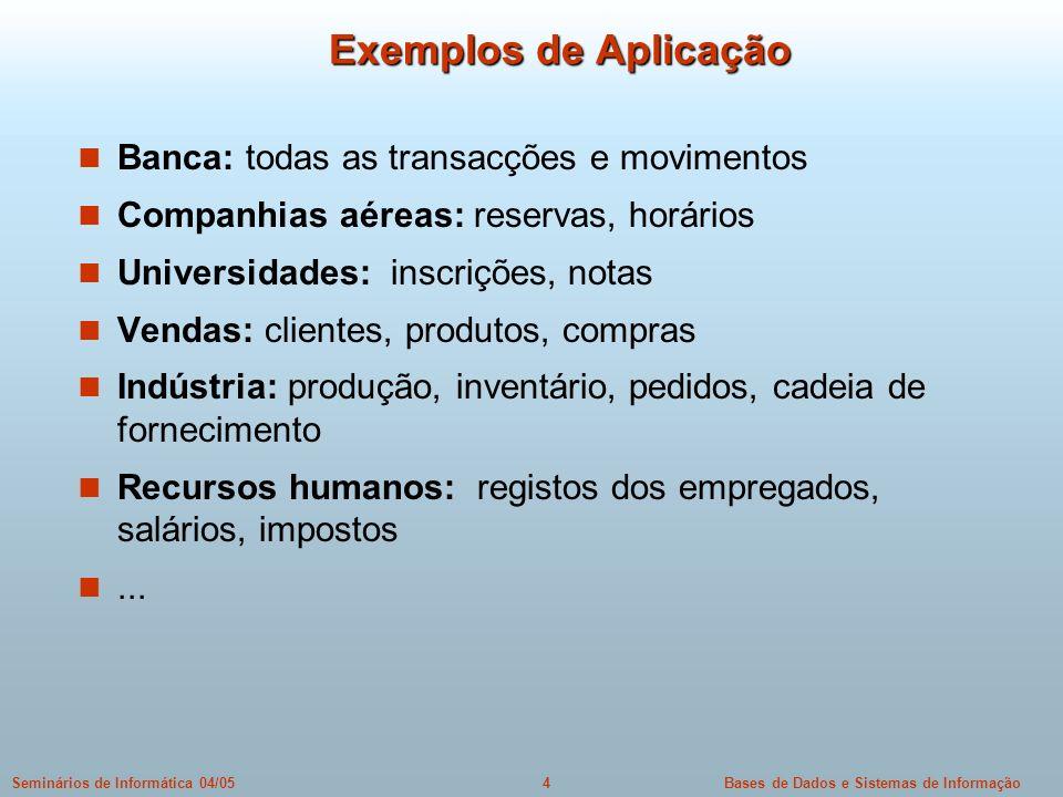 Exemplos de Aplicação Banca: todas as transacções e movimentos