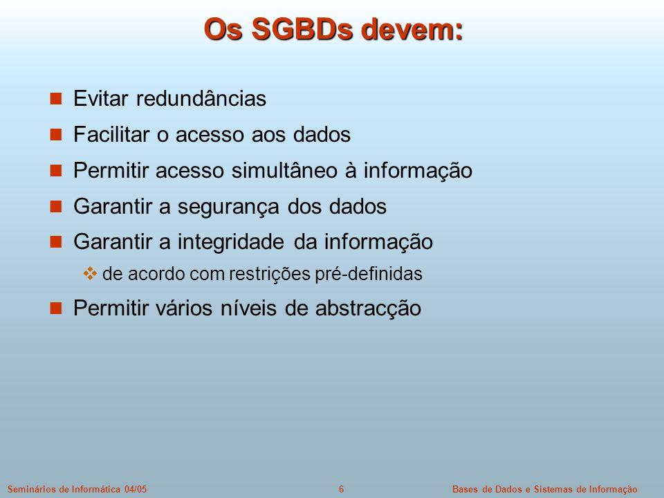 Os SGBDs devem: Evitar redundâncias Facilitar o acesso aos dados