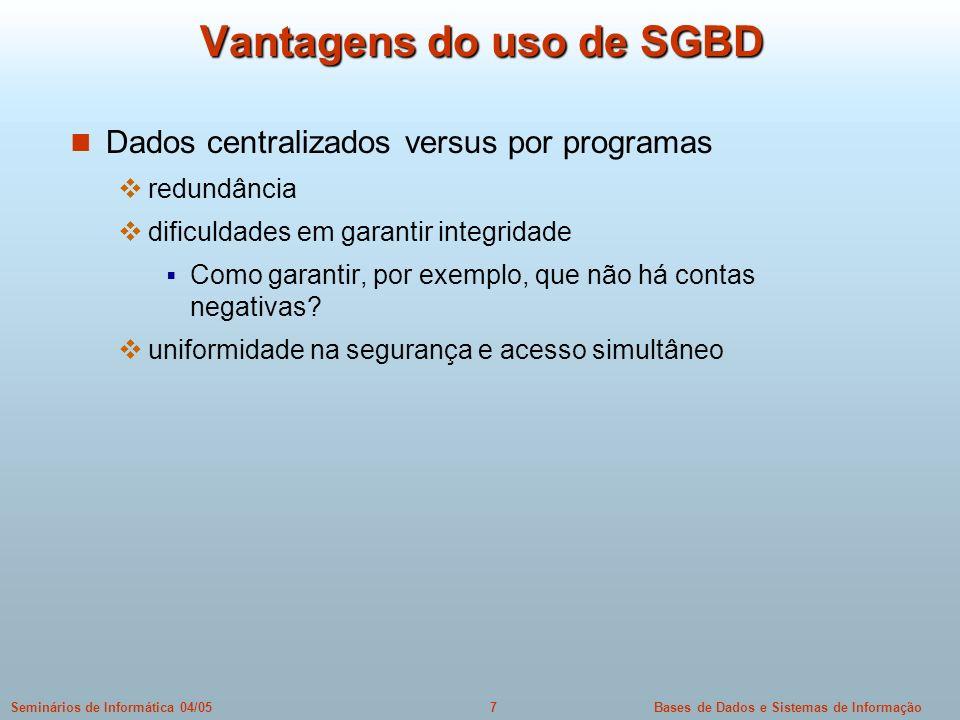 Vantagens do uso de SGBD