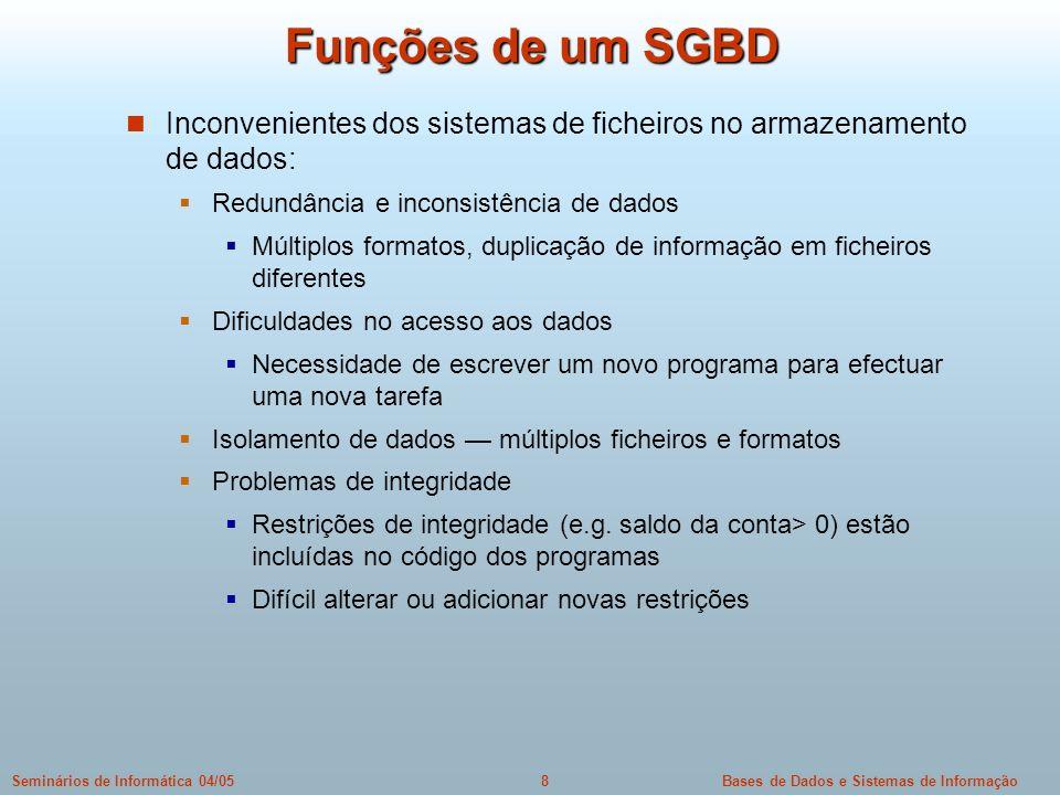 Funções de um SGBD Inconvenientes dos sistemas de ficheiros no armazenamento de dados: Redundância e inconsistência de dados.