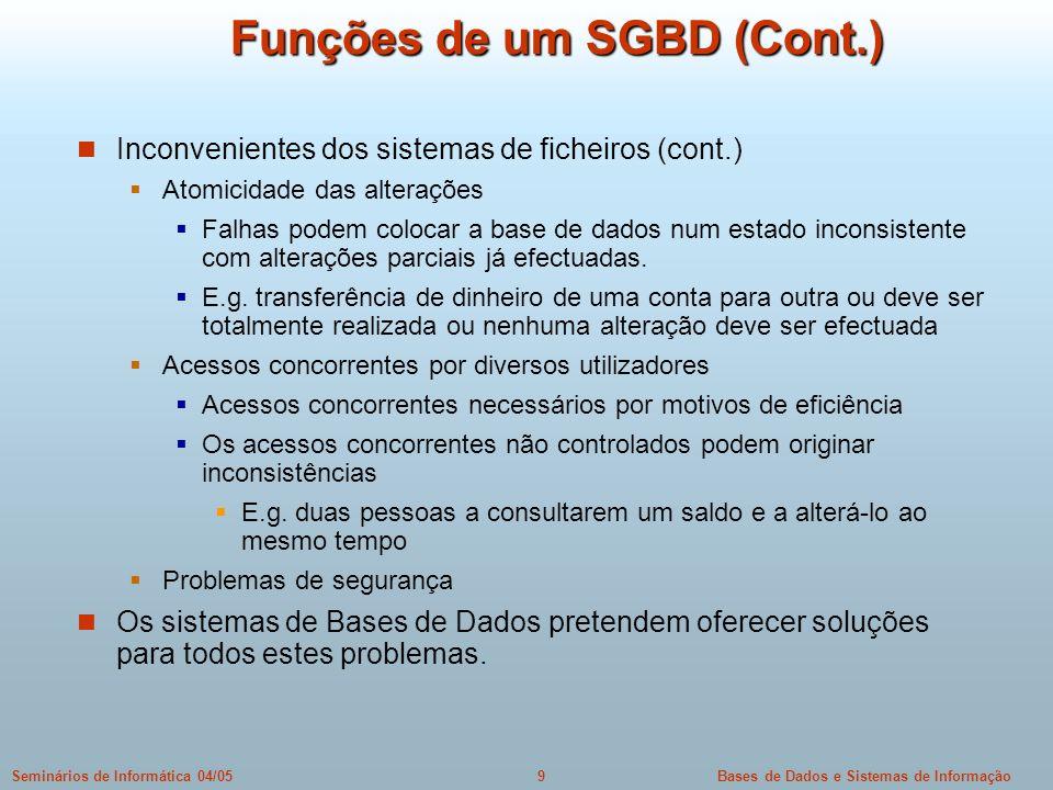 Funções de um SGBD (Cont.)