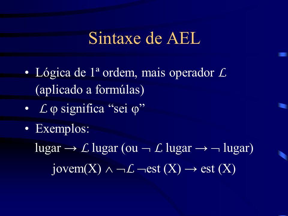 Sintaxe de AEL Lógica de 1ª ordem, mais operador L (aplicado a formúlas) L j significa sei j Exemplos: