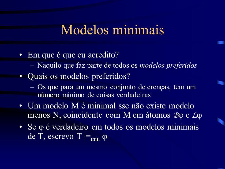Modelos minimais Em que é que eu acredito