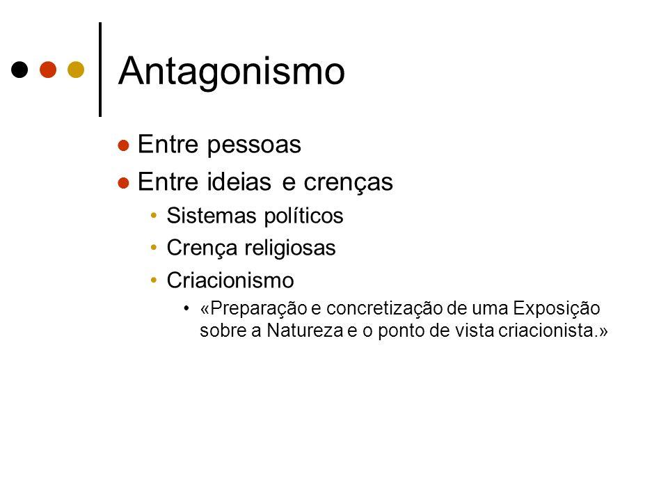 Antagonismo Entre pessoas Entre ideias e crenças Sistemas políticos