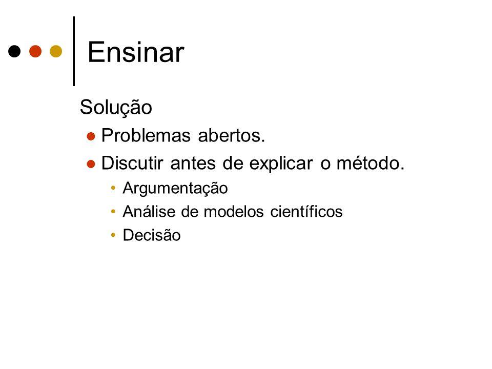 Ensinar Solução Problemas abertos.