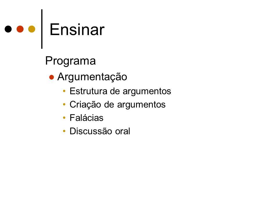 Ensinar Programa Argumentação Estrutura de argumentos