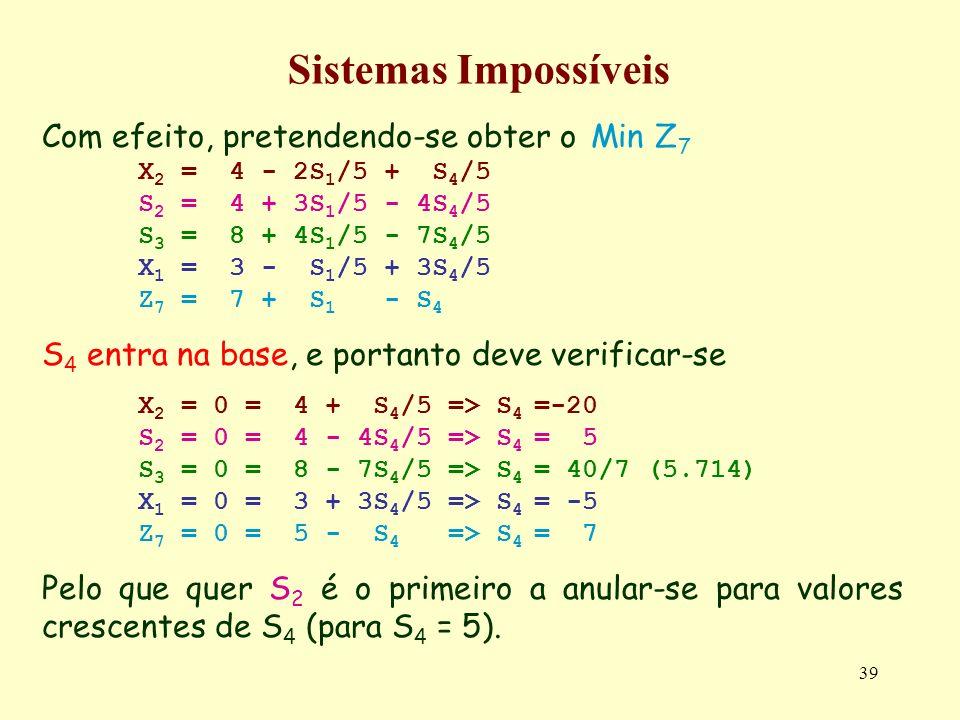 Sistemas Impossíveis Com efeito, pretendendo-se obter o Min Z7