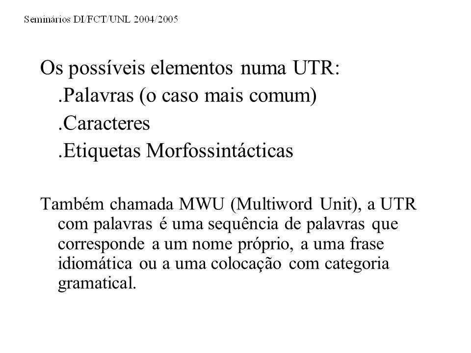 Os possíveis elementos numa UTR: .Palavras (o caso mais comum)