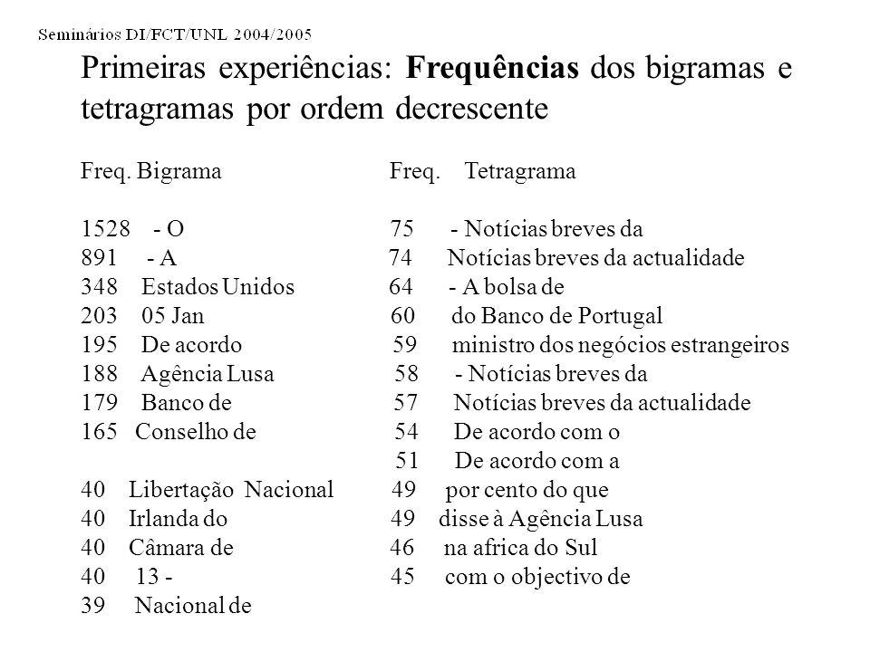Primeiras experiências: Frequências dos bigramas e tetragramas por ordem decrescente