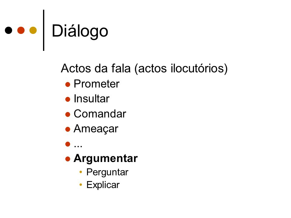 Diálogo Actos da fala (actos ilocutórios) Prometer Insultar Comandar