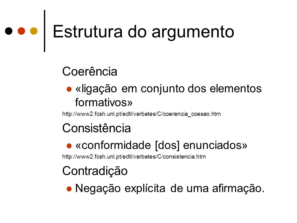Estrutura do argumento