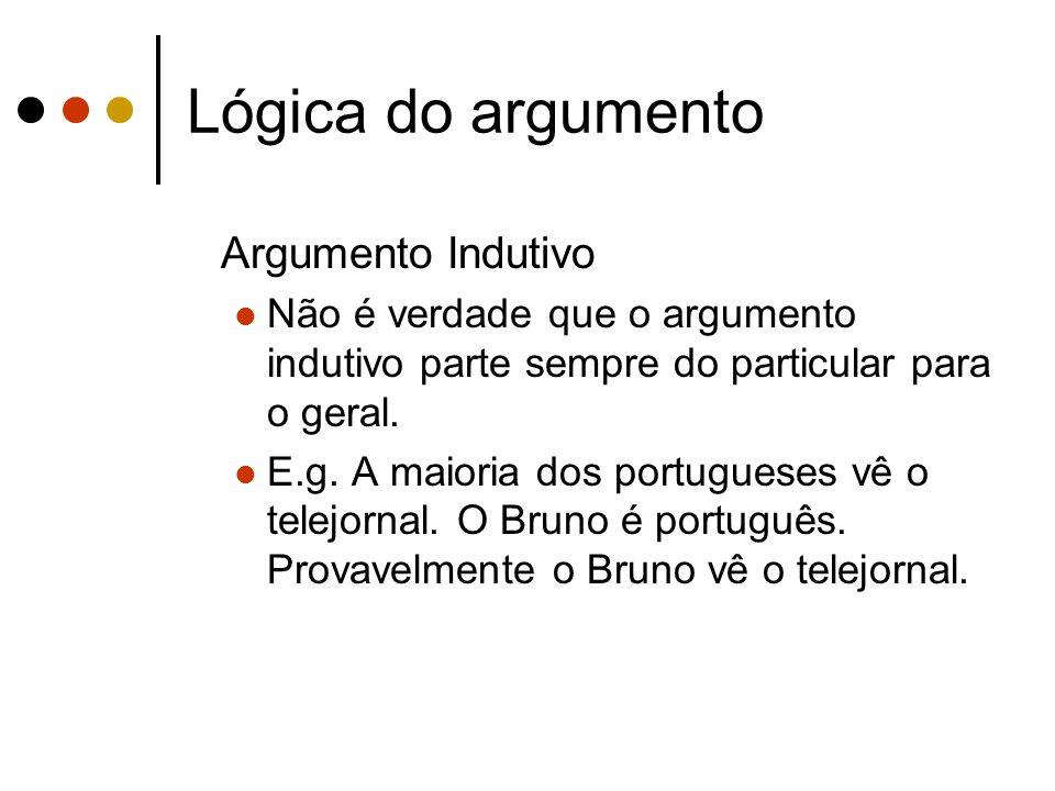 Lógica do argumento Argumento Indutivo