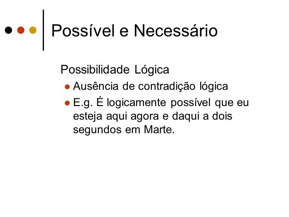 Possível e Necessário Possibilidade Lógica