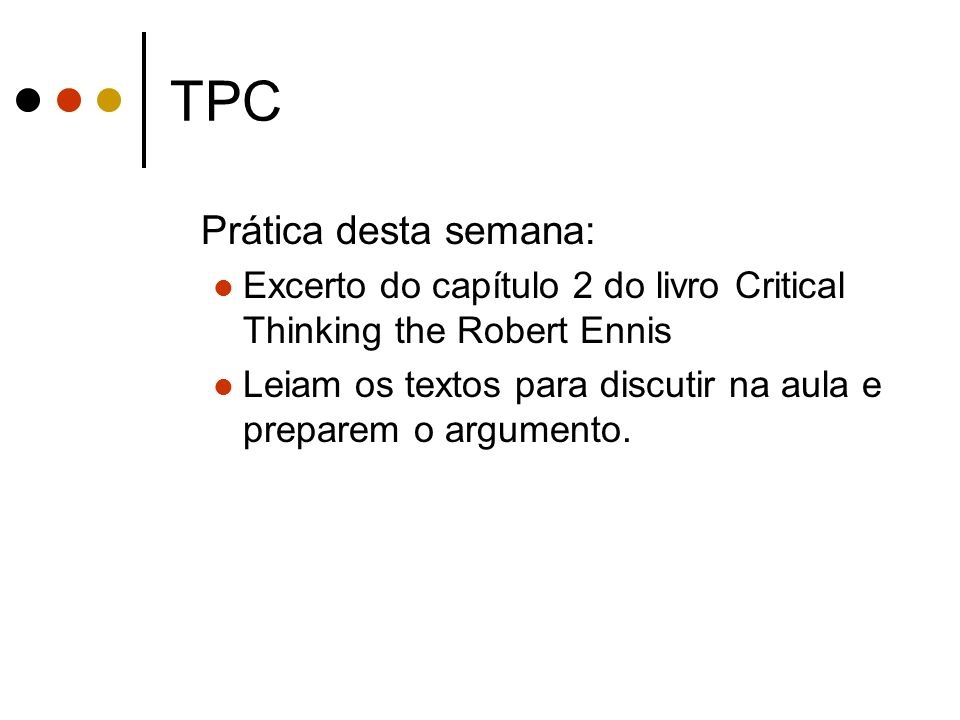 TPC Prática desta semana: