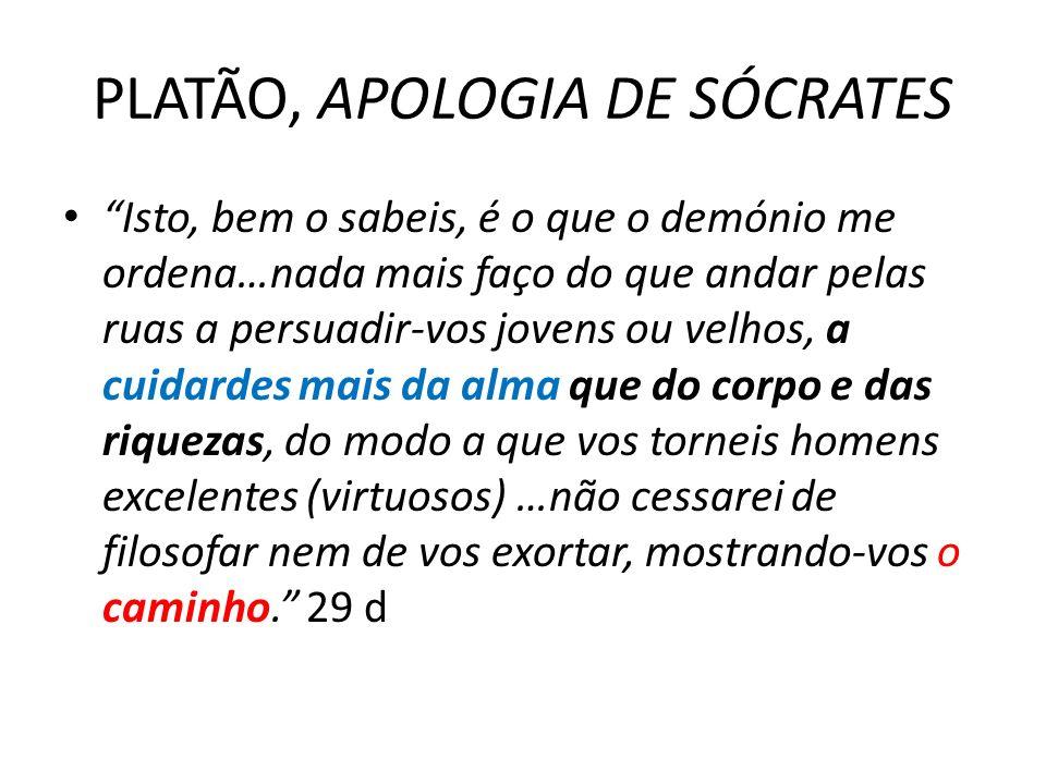 PLATÃO, APOLOGIA DE SÓCRATES