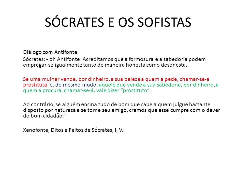 SÓCRATES E OS SOFISTAS Diálogo com Antifonte: