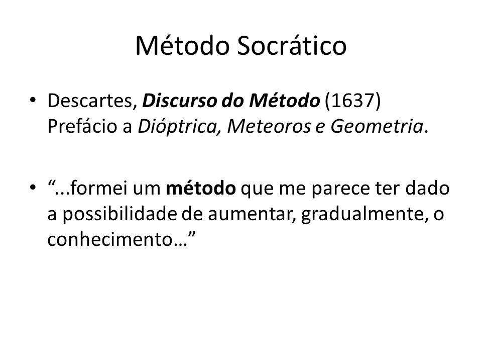Método Socrático Descartes, Discurso do Método (1637) Prefácio a Dióptrica, Meteoros e Geometria.