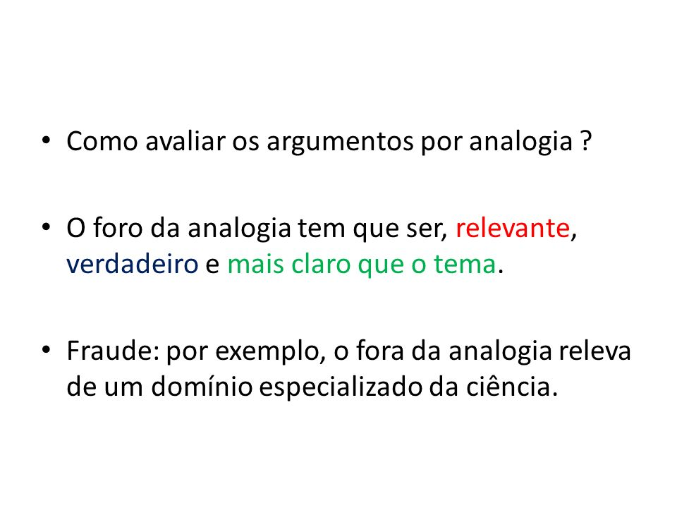 Como avaliar os argumentos por analogia